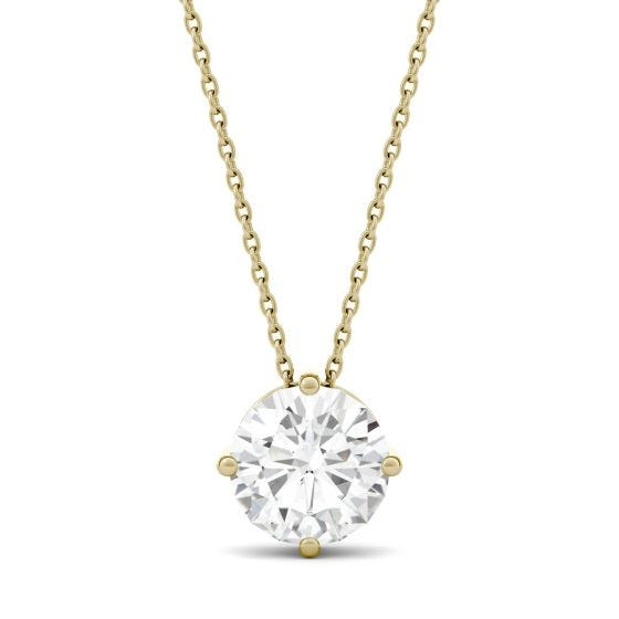 1.90 CTW DEW Round Forever One Moissanite Solitaire Pendant Necklace 14K Yellow Gold
