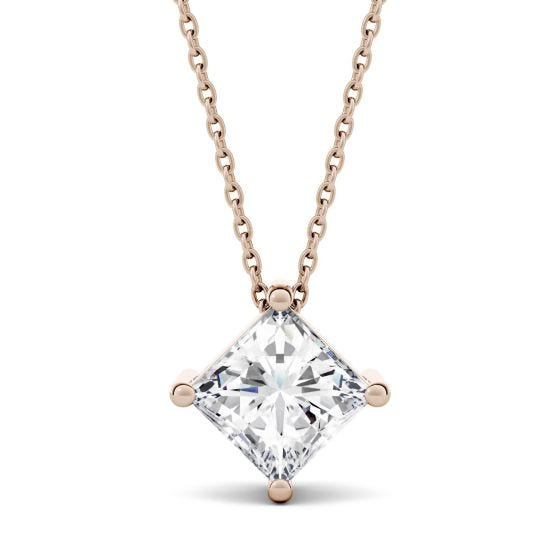 1.50 CTW DEW Square Forever One Moissanite Solitaire Necklace 14K Rose Gold