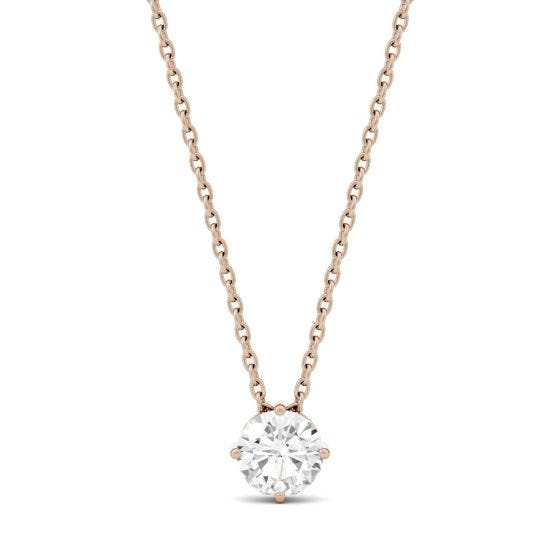 0.50 CTW DEW Round Forever One Moissanite Solitaire Pendant Necklace 14K Rose Gold