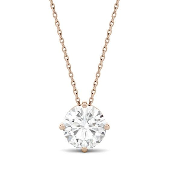 1.90 CTW DEW Round Forever One Moissanite Solitaire Pendant Necklace 14K Rose Gold