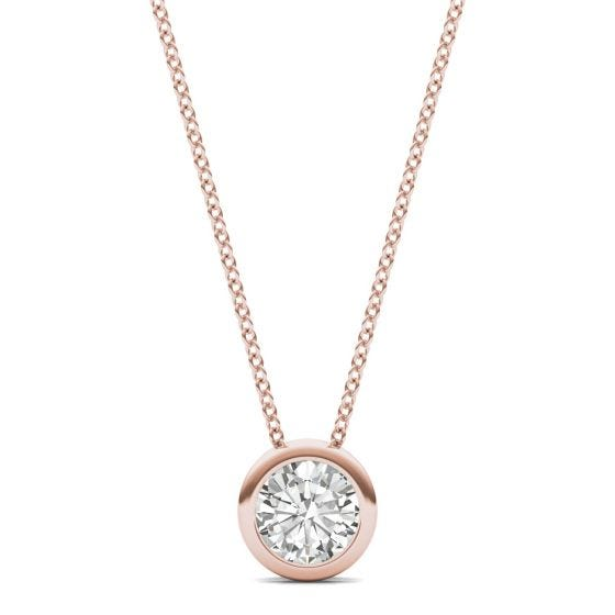 0.50 CTW DEW Round Forever One Moissanite Bezel Set Solitaire Pendant Necklace 14K Rose Gold