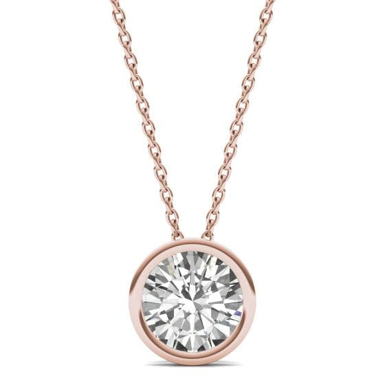 1.50 CTW DEW Round Forever One Moissanite Bezel Set Solitaire Pendant Necklace 14K Rose Gold