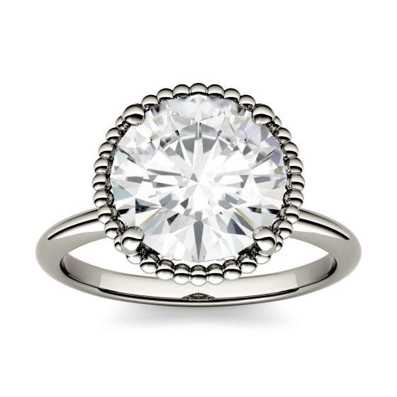 1.00 CTW DEW Round Forever One Moissanite Beaded Solitaire Engagement Ring 14K White Gold