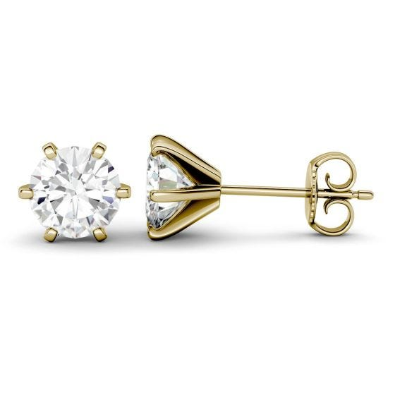 1.00 CTW DEW Round Forever One Moissanite Six Prong Stud Earrings 14K Yellow Gold