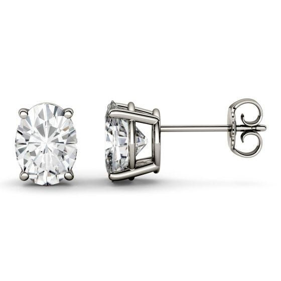 1.80 CTW DEW Oval Forever One Moissanite Four Prong Solitaire Stud Earrings 14K White Gold