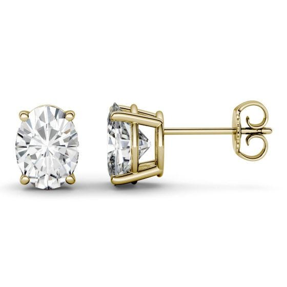 4.20 CTW DEW Oval Forever One Moissanite Four Prong Solitaire Stud Earrings 14K Yellow Gold