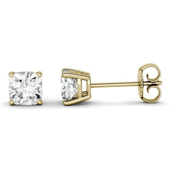 1.00 CTW DEW Cushion Forever One Moissanite Four Prong Solitaire Stud Earrings 14K Yellow Gold