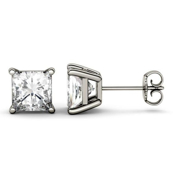 0.82 CTW DEW Square Forever One Moissanite Four Prong Solitaire Stud Earrings 14K White Gold