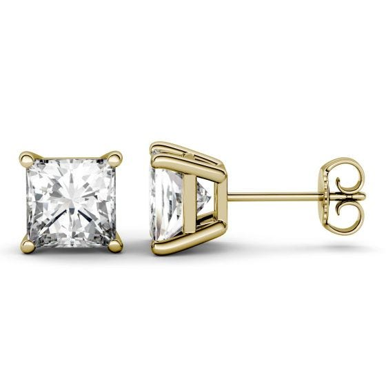 3.00 CTW DEW Square Forever One Moissanite Four Prong Solitaire Stud Earrings 14K Yellow Gold