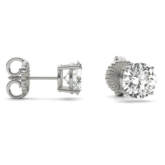 3.80 CTW DEW Round Forever One Moissanite Four Prong Solitaire Stud Earrings 14K White Gold