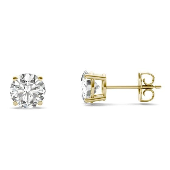 2.08 CTW DEW Round Forever One Moissanite Solitaire Stud Earrings 14K Yellow Gold