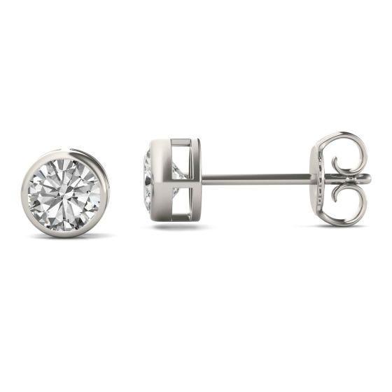 1.00 CTW DEW Round Forever One Moissanite Bezel Set Solitaire Stud Earrings 14K White Gold