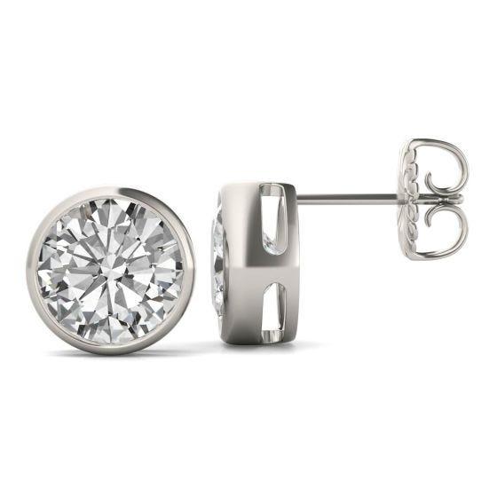 3.80 CTW DEW Round Forever One Moissanite Bezel Set Solitaire Stud Earrings 14K White Gold