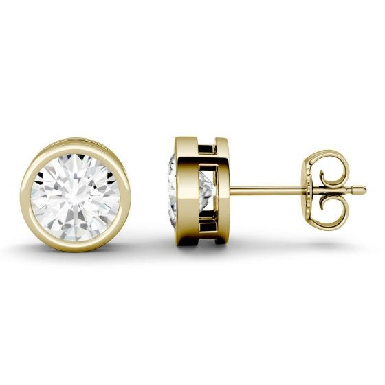 2.00 CTW DEW Round Forever One Moissanite Bezel Set Solitaire Stud Earrings 14K Yellow Gold