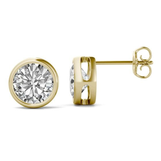 3.00 CTW DEW Round Forever One Moissanite Bezel Set Solitaire Stud Earrings 14K Yellow Gold