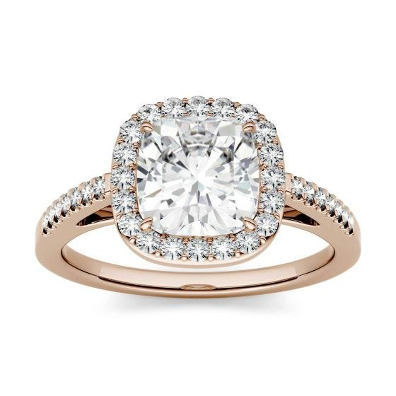 1.97 CTW DEW Cushion Forever One Moissanite Halo with Side Accents Engagement Ring 14K Rose Gold