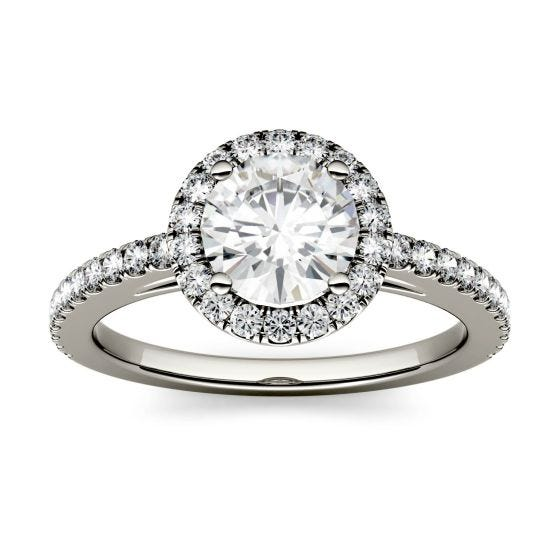 1.40 CTW DEW Round Forever One Moissanite Halo with Side Accents Engagement Ring 14K White Gold