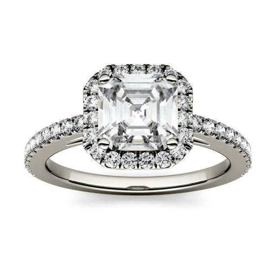 1.71 CTW DEW Asscher Forever One Moissanite Halo with Side Accents Engagement Ring 14K White Gold