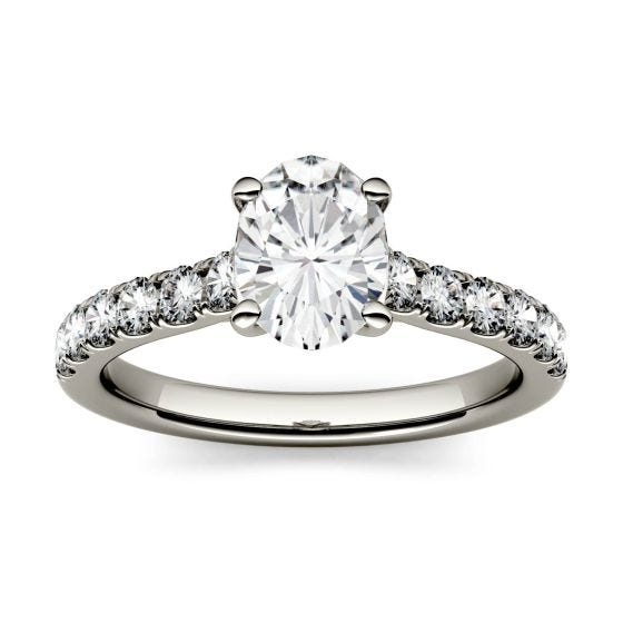 1.26 CTW DEW Oval Forever One Moissanite Solitaire with Side Accents Engagement Ring 14K White Gold