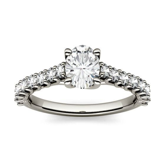 1.38 CTW DEW Oval Forever One Moissanite Solitaire with Side Accents Engagement Ring 14K White Gold