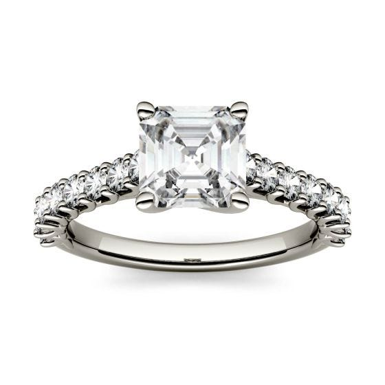 1.78 CTW DEW Asscher Forever One Moissanite Solitaire with Side Accents Engagement Ring 14K White Gold