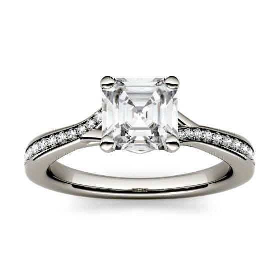 1.43 CTW DEW Asscher Forever One Moissanite Solitaire with Side Accents Engagement Ring 14K White Gold