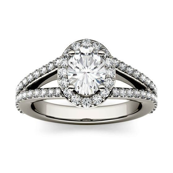 1.54 CTW DEW Oval Forever One Moissanite Split Shank Halo with Side Accents Engagement Ring 14K White Gold