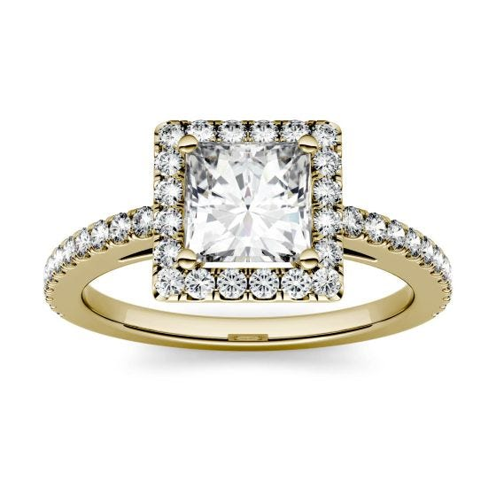 1.42 CTW DEW Square Forever One Moissanite Halo with Side Accents Engagement Ring 14K Yellow Gold