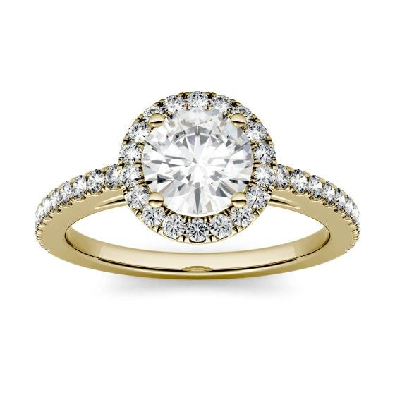 1.40 CTW DEW Round Forever One Moissanite Halo with Side Accents Engagement Ring 14K Yellow Gold