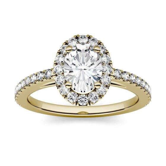 1.28 CTW DEW Oval Forever One Moissanite Halo with Side Accents Engagement Ring 14K Yellow Gold