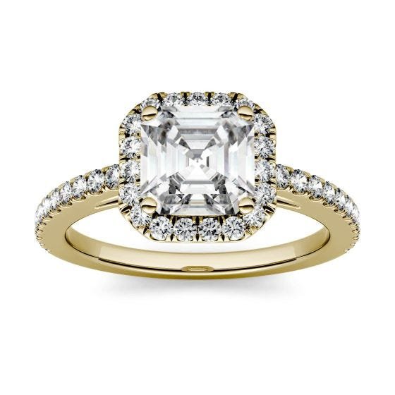 1.71 CTW DEW Asscher Forever One Moissanite Halo with Side Accents Engagement Ring 14K Yellow Gold