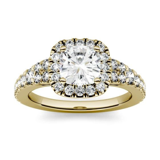 1.74 CTW DEW Cushion Forever One Moissanite Halo with Side Accents Engagement Ring 14K Yellow Gold