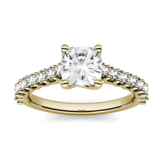 1.58 CTW DEW Cushion Forever One Moissanite Solitaire with Side Accents Engagement Ring 14K Yellow Gold