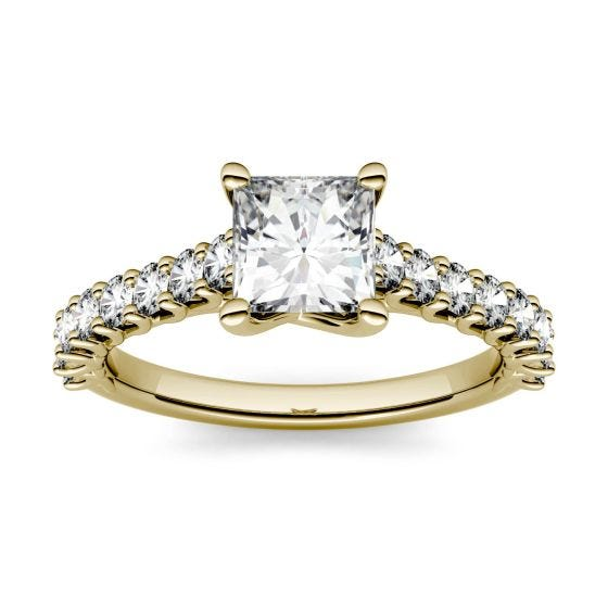 1.48 CTW DEW Square Forever One Moissanite Solitaire with Side Accents Engagement Ring 14K Yellow Gold
