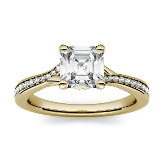 1.43 CTW DEW Asscher Forever One Moissanite Solitaire with Side Accents Engagement Ring 14K Yellow Gold