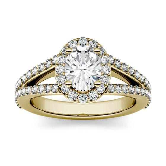 1.54 CTW DEW Oval Forever One Moissanite Split Shank Halo with Side Accents Engagement Ring 14K Yellow Gold