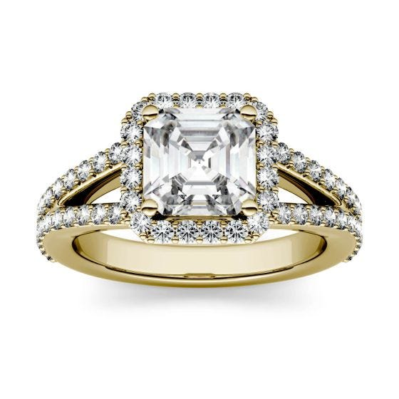 1.98 CTW DEW Asscher Forever One Moissanite Split Shank Halo with Side Accents Engagement Ring 14K Yellow Gold