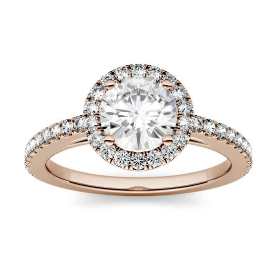 1.40 CTW DEW Round Forever One Moissanite Halo with Side Accents Engagement Ring 14K Rose Gold