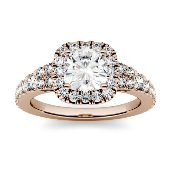 1.74 CTW DEW Cushion Forever One Moissanite Halo with Side Accents Engagement Ring 14K Rose Gold