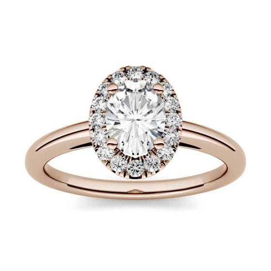 1.06 CTW DEW Oval Forever One Moissanite Halo Engagement Ring 14K Rose Gold