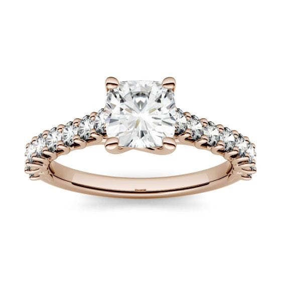 1.46 CTW DEW Cushion Forever One Moissanite Solitaire with Side Accents Engagement Ring 14K Rose Gold