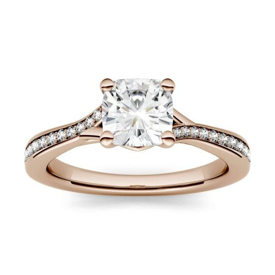 1.23 CTW DEW Cushion Forever One Moissanite Solitaire with Side Accents Engagement Ring 14K Rose Gold