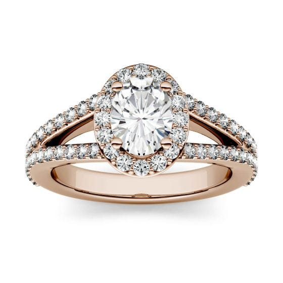 1.54 CTW DEW Oval Forever One Moissanite Split Shank Halo with Side Accents Engagement Ring 14K Rose Gold