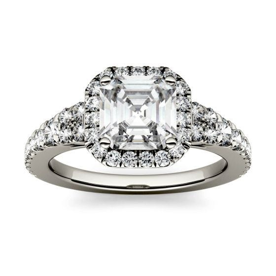 1.97 CTW DEW Asscher Forever One Moissanite Halo with Side Accents Engagement Ring 14K White Gold