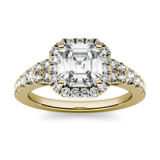 1.97 CTW DEW Asscher Forever One Moissanite Halo with Side Accents Engagement Ring 14K Yellow Gold
