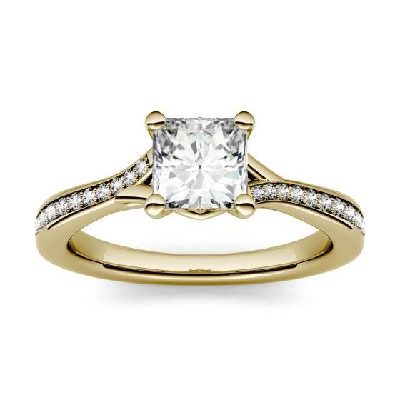 1.13 CTW DEW Square Forever One Moissanite Solitaire with Side Accents Engagement Ring 14K Yellow Gold