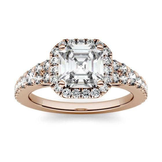 1.97 CTW DEW Asscher Forever One Moissanite Halo with Side Accents Engagement Ring 14K Rose Gold