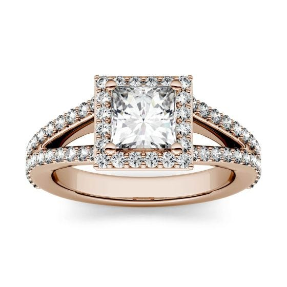 1.68 CTW DEW Square Forever One Moissanite Split Shank Halo with Side Accents Engagement Ring 14K Rose Gold
