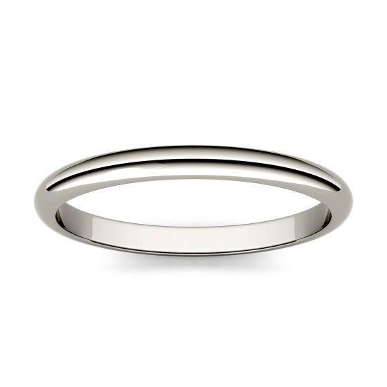 Domed Stackable Band Ring 14K White Gold