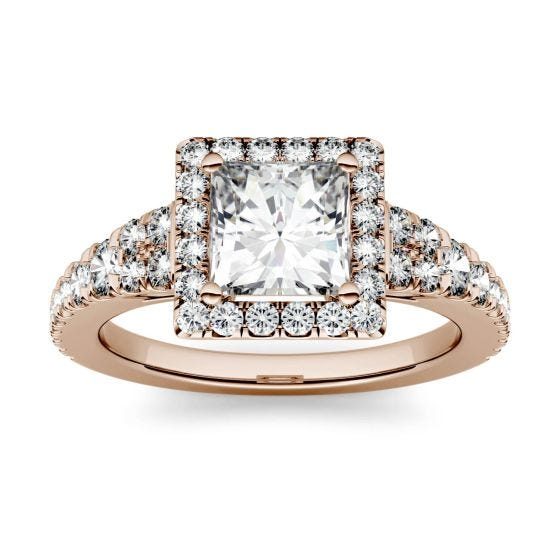1.68 CTW DEW Square Forever One Moissanite Halo with Side Accents Ring 14K Rose Gold